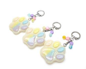 Rainbow Paw Print Keychain - Dog Keychains - Dog Keychain- Cat Keychain - Cat Keychains - Cat Paw Keychain - Paw Print Accessories - Pastel