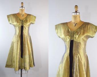 Vintage 1950s Sheer Organza Dress w/ Gold Swirls