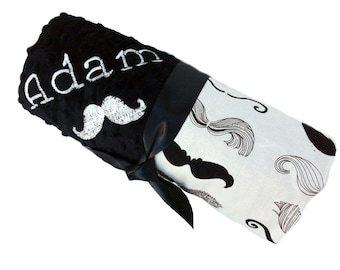 Stroller Size Black and Cream Moustache Baby Blanket with Black Dot Minky Back Personalization Included