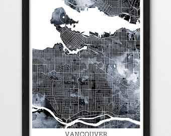 Vancouver map etsy vancouver city map print vancouver urban street map poster vancouver canada watercolor grey black gumiabroncs Choice Image