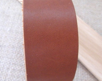 Leather Cuff Bracelet in Saddle Brown