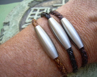 Mens  Braided Leather Bracelet With Stainless Steel Magnetic Clasp, Mens Bracelet, Mens Gift, Mens Jewelry, Groomsmen, Fathers Day, Bracelet