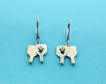 Item 06  Pickleball Double Paddle Earrings with Diamond Balls