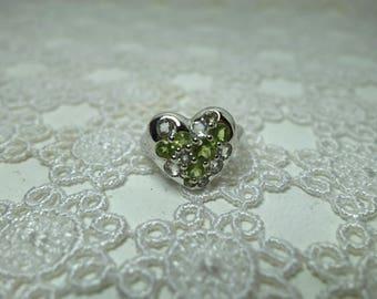 Green amethyst and peridot heart/heart silver ring