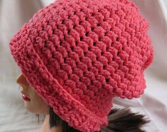 Papaya Slouchy Hat, Women's Winter Hat, Fashion Hat, Stocking Hat , Crochet Hats