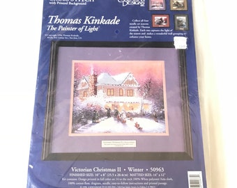 "Vintage Thomas Kinkade The Painter of Light Victorian Christmas II Winter Counted Cross Stitch Kit 14"" X 12"""