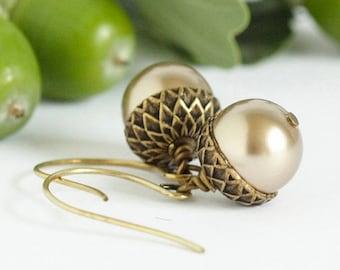 Woodland Earrings - Acorn Earrings - Dangle Earrings - Rustic Earrings - Nature Earrings - Brass Acorns - Gift For Mom - Gift For Her