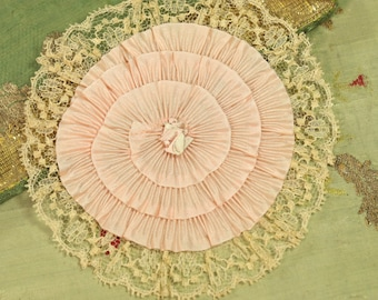 Antique ribbonwork rosette silk pleated ribbon flowers lace round soft pink pastel shades trim flower flapper rayon metal 1920 millinery hat