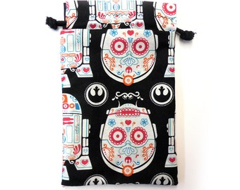 Star Wars Sugar skul C3P0 R2D2 bag for dice, Cell phones, Nintendo DS XL, Dice, cards, or anything! star wars sith jedi vader