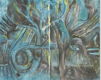 Abstract Surreal Watercolor Book Page Trees and Roots 2 Page Spread