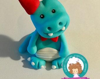 Dinosaur fondant cake topper
