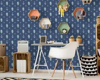 Nautical Pattern Removable Wallpaper | Peel and Stick Wallpaper | Home Décor and Wall Décor | Interior Design | W1023