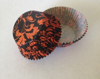 Black and Orange Scroll Cupcake Liners