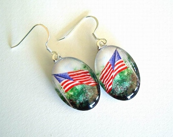 American Flag Art Glass Oval Earrings Old Glory Red White Blue United States Flag