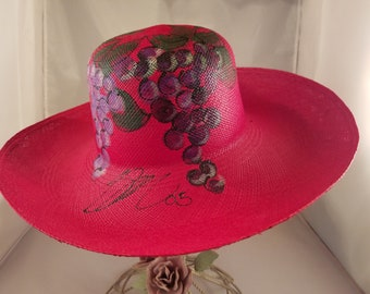 Panama Straw Hat, Grape Custer, Red Hat, Wide Brim Hat, Summer Hat, Sun Hats, Spring Hat, Kentucky Derby, Mothers Day
