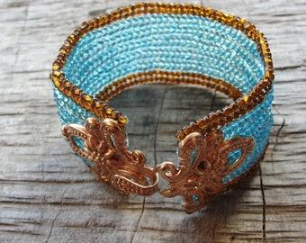 Beaded Herringbone Bracelet - Bohemian Copper Bracelet, Copper and Turquoise