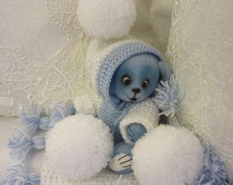 Bear Lucky - artist teddy bear, teddy bear OOAK, artist bear