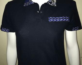 Women Dashiki Polo Navy blue with collar and stripe (blue and white) Black Panther Wakanda Motherdays