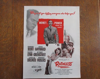 """1948 Original Vintage Movie ad """"Ruthless"""" with Zachary Scott and Louis Hayward"""