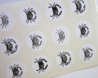 Crab Stickers One Inch Round Seals