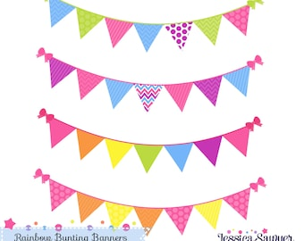 INSTANT DOWNLOAD,  rainbow bunting banner clipart for personal and commercial use