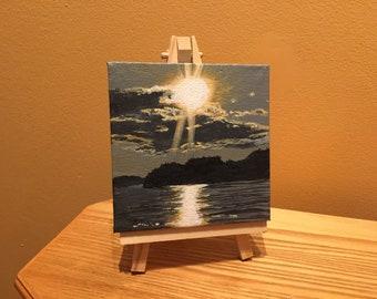 Sunset Painting, Sunset Mini Painting, Original Sunset Painting, Sunset Tiny Painting, Free Shipping