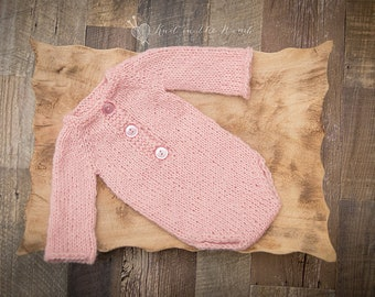 Long Sleeve Romper - READY TO SHIP - photo prop earthy newborn