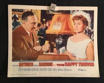 Original 1962 The Happy Thieves Movie Poster, Rita Hayworth, Rex Harrison