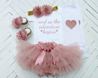 Baby Girl Coming Home Outfit, Take Home Outfit, Baby Shower Gift, Newborn Photo Outfit, Dusty Rose Outfit, And So The Adventure Begins