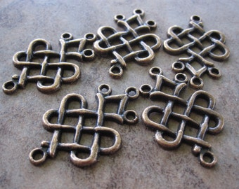 5 Drops, Antiqued copper pewter, 23x19mm weave, 3 loops.JD138