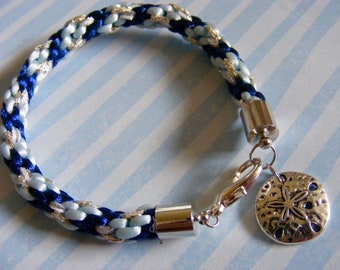 Blue and Silver Kumihimo Bracelet with Sand Dollar Charm