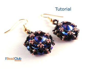 Rivoli Earring Tutorial - Beaded Earring Tutorials - Beading Patterns and Tutorials - Beadweaving Tutorials - Beadwork - Rosette Earrings