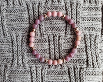 Purple Lepidolite and Pink Opal