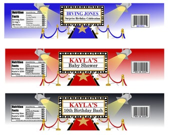 Hollywood Water Bottle Label, Red Carpet, Movie Night Party Favors-Digital File