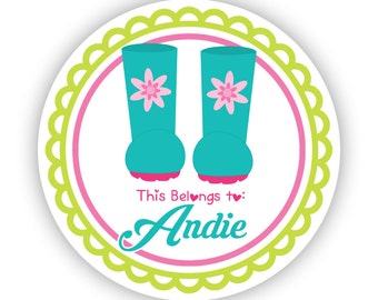 Name Label Stickers - Lime Green Pink Garden Sticker, Garden Boots Personalized Name Tag Sticker - Back to School - This Belongs To Labels