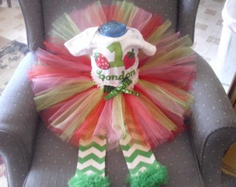 Birthday Strawberry Shirt or Onesie and Tutu Skirt with leggings Birthday Outfit