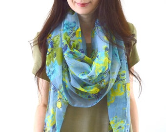 Rose Printed Scarf, Summer Floral Scarf, Woman Fashion Scarf, Spring Scarf, Birthday Gift, Mothers Day
