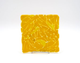 "6"" Yellow Square Mosaic Glass Plate"