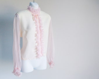 Pink, Ruffled Blouse with Sheer Sleeves - Sz L