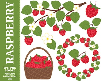Digital Raspberry Clip Art - Leaves, Branch, Basket, Wreath, Berry, Raspberry Clip art