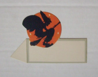 Vintage Halloween witch place card