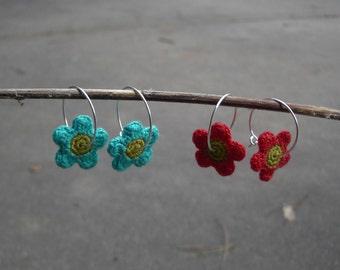 Le Fleur Tangerine Crochet Earrings
