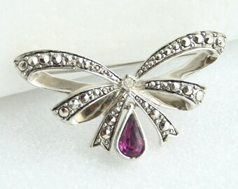 Vintage Amethyst Marcasite Bow Pin Vintage Brooch Silver Purple February Birthstone  Drop Silvertone Signed Avon