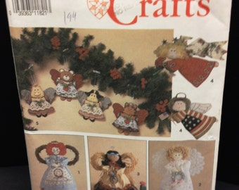 Simplicity Pattern 7549 Angel Christmas Tree Topper & Ornaments In 2 Sizes