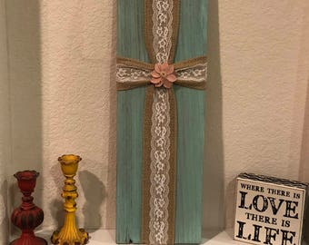 Lace and Burlap Reclaimed Wood- Distressed Handpainted Cross
