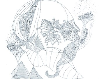 biotope engraving etching face naturalist surreal poetic imagination botanical plants