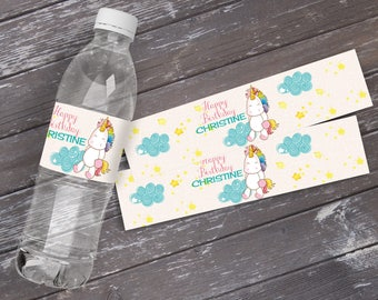 Unicorn Water Bottle Wrap - Unicorn Party, Magical Unicorn Party, Birthday Party, Rainbow | INSTANT Download PDF - Printable