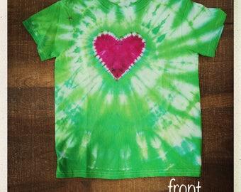 Christmas Heart Kids Tye Dye T-Shirt sizes XS