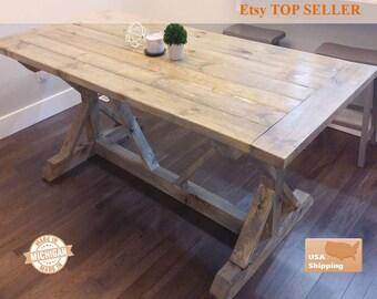 Farmhouse Table, Bread Board, Breadboard Table, Farm Table, Dine Table, Rustic Table, Furniture, Farm, Farm House Table