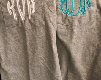 Monogrammed Pocket T-Shirt/ Monogrammed Pocket T-Shirt/ Monogram Tee